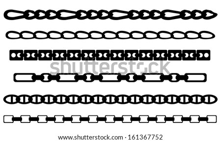 set of chains isolated on white - stock vector