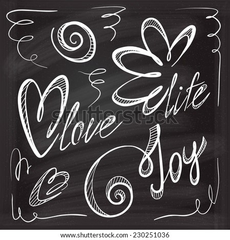 Set of chalk calligraphic doodle inscriptions - stock vector