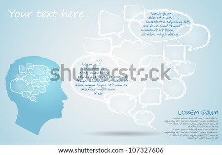 Set of chalk drawing bubble speech and silhouette of the men - stock vector