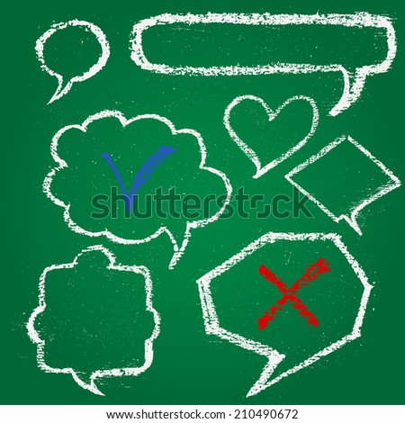 Set of chalk painted speech bubbles on a green chalkboard - stock vector