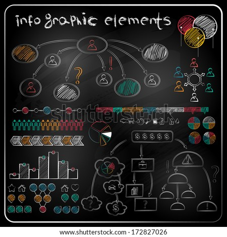 Set of chalkboard info-graphics and business icons. - stock vector