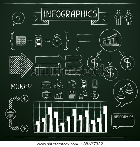 Set of chalkboard infographics and business icons. - stock vector
