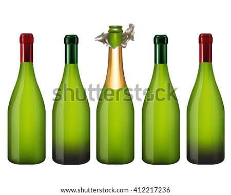 Set of Champagne bottle isolated on white background,Vector illustration - stock vector