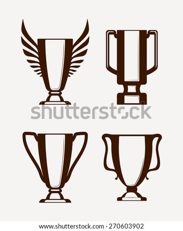 Set of 4 champion cups sport icon. Vector illustration.