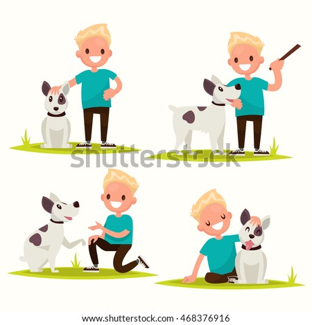 Set of characters. Boy with his beloved dog. Vector illustration of a flat design