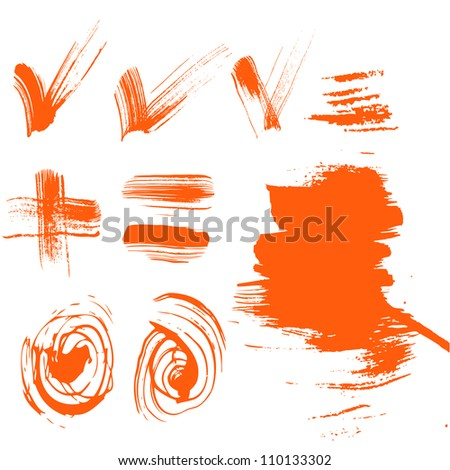 set of characters drawn with a brush-textured checkboxes, plus abstract spots - stock vector