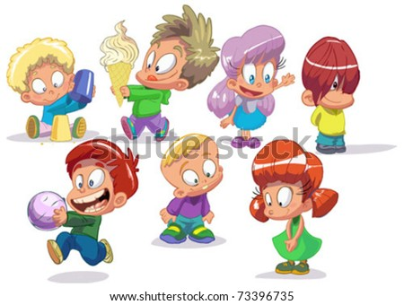 set of characters funny kids on a white background - stock vector