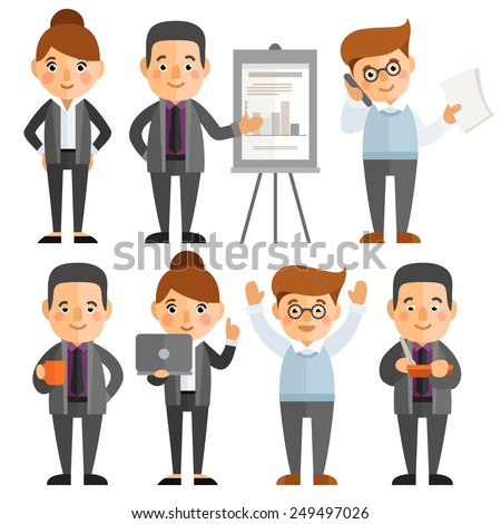 Set of characters in a flat style. businesswoman, businessman, office worker in various situations. - stock vector