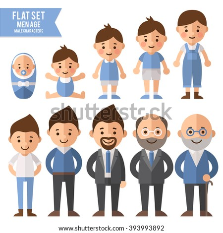 Set of characters in a flat style. Men characters, the cycle of life, growing up male. From infant to grandfather. - stock vector