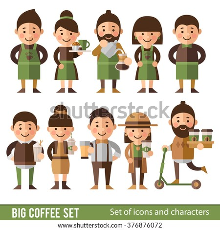 Set of characters in a flat style. Team cafes and coffee lovers. Barista, waiter, cafe manager, hipster, fashion girl, cafes Visitors. - stock vector