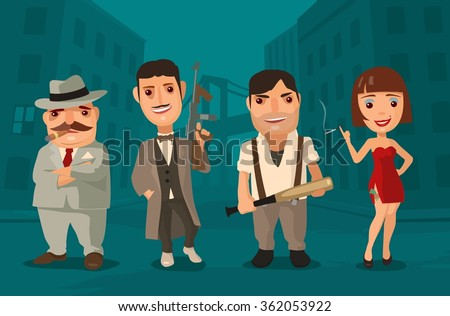 Set of characters Mafia. Don, capo, soldier, prostitute. Vector flat illustration on background of city streets. - stock vector