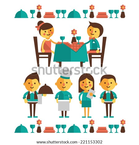 Set of characters of a restaurant. Flat design - stock vector