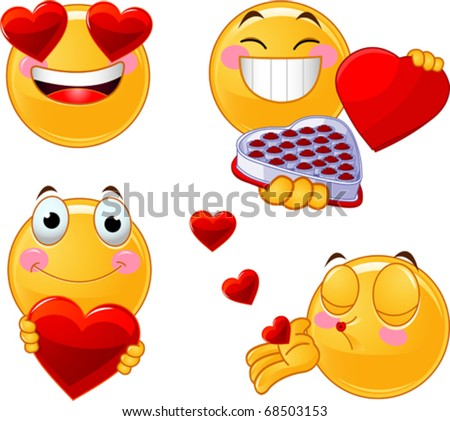 Set of characters of yellow emoticons with different faces, eyes, mouth for Valentine Day - stock vector