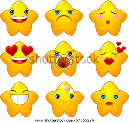 Set of characters of yellow stars with different faces, eyes, mouth and brushes - stock vector
