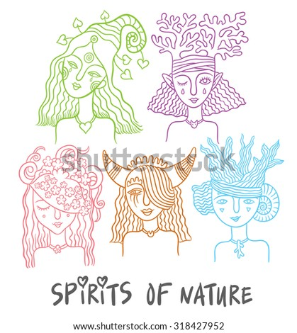 set of characters - the spirits of nature - water, forests, plants, animals fairies - hand drawing vector illustrations - stock vector