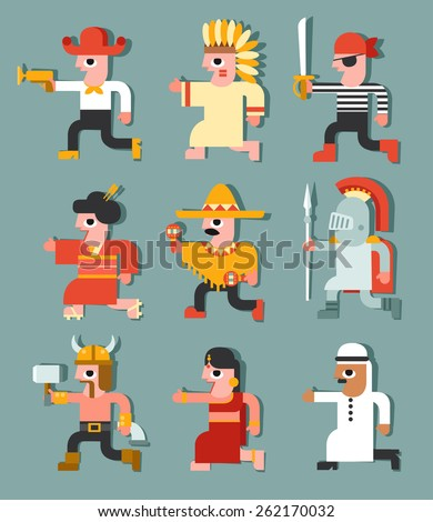 Set of characters with different national costumes :Vector Illustration - stock vector