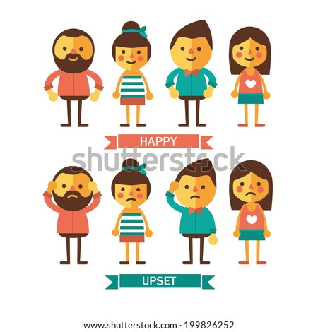 Set of characters with happy and upset emotions. Flat picture. - stock vector