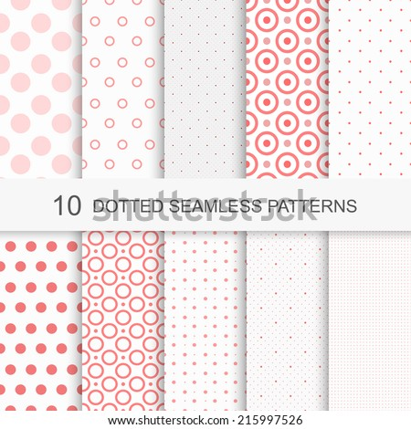 Set of charming seamless patterns with dots - stock vector