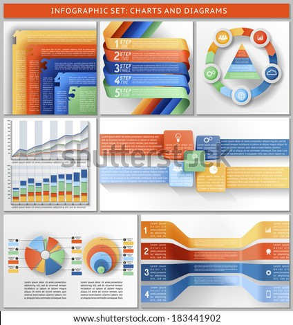 Set of charts, templates, and infographic. EPS 10 contains transparency - stock vector