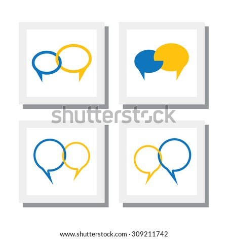 set of chat signs or talk symbol or speech bubble vector icons. this also represents concepts like interaction, exchanging ideas, listening & understanding, connecting & bonding - stock vector