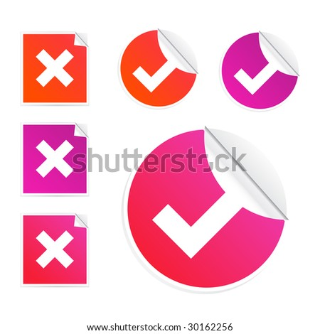 Set of check and crosses stickers isolated on a white background - stock vector