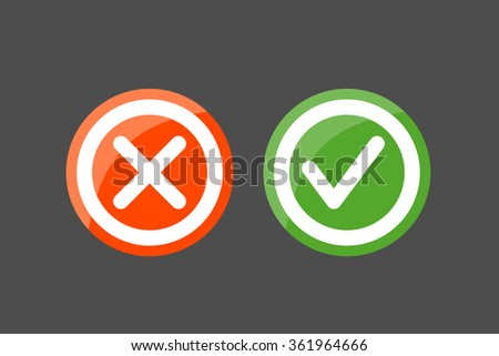 Set of check mark icons on a black background. Tick and cross icons on circle buttons - stock vector