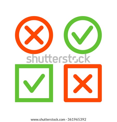Set of check mark icons. Tick and cross line icons in circle and square shape - stock vector