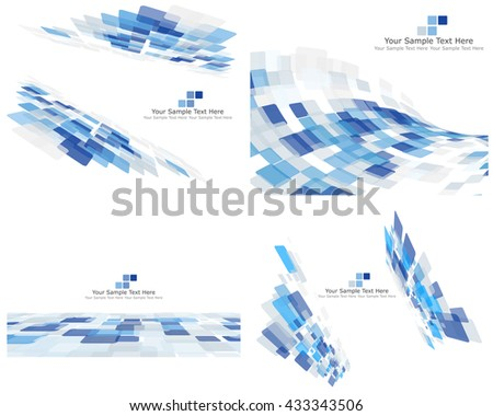 Set of 4 Checkered Abstract Backgrounds. Blue color.