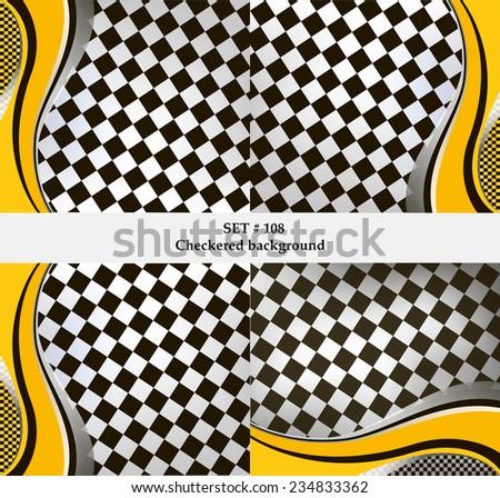 Set of checkered vector flag background. Sport wallpaper set eps10 - stock vector