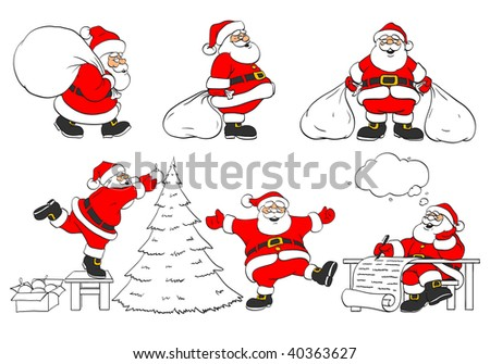 set of cheerful christmas Santa Clauses in different poses - vector illustration - stock vector