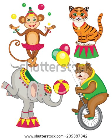 set of cheerful circus animals (vector illustration for children's books) - stock vector