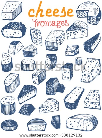 "Set of Cheese with translated in French ""Fromages"" - stock vector"