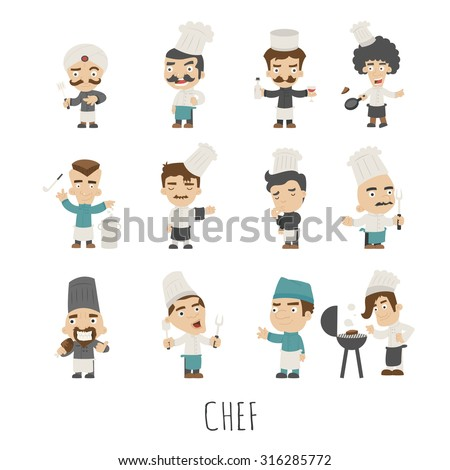 Set of chef costume characters , eps10 vector format
