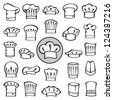 set of chef hats - stock vector