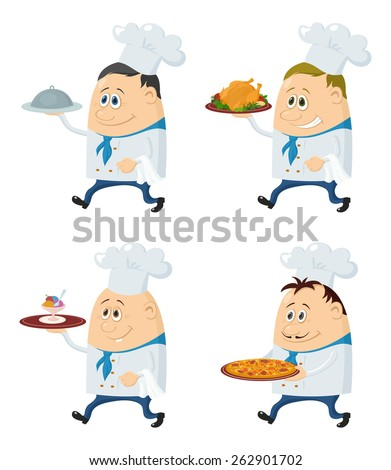 Set of Chefs with Different Meals on Their Trays, Pizza, Roast Turkey, Ice Cream, Funny Cartoon Characters Isolated on White Background. Eps10, contains transparencies. Vector - stock vector