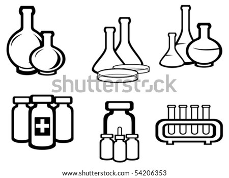 Set of chemical and medical flasks symbols for design. jpeg version also available - stock vector