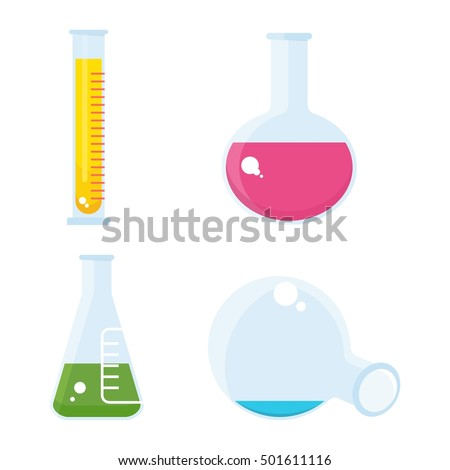 Set of chemical equipment. Test tube and flack, chemical burner, laboratory, liquid. Flat vector cartoon chemical illustration. Objects isolated on a white background.