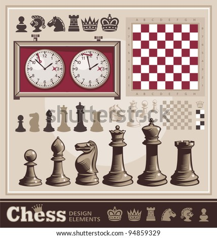 Set of Chess Design Elements - stock vector