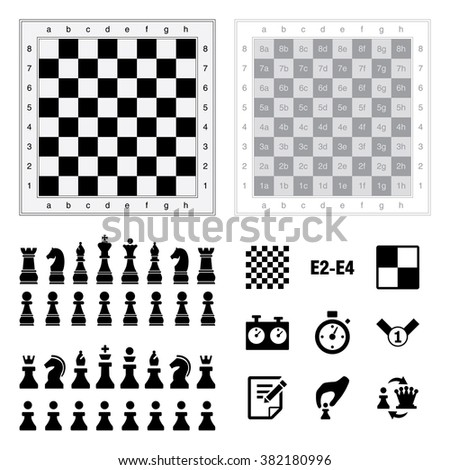 Set of Chess icons and board. Editable Vector Illustration sort by layers. Pawn, Rook, Knight, Bishop, King, Queen and popular checker chess icons. - stock vector
