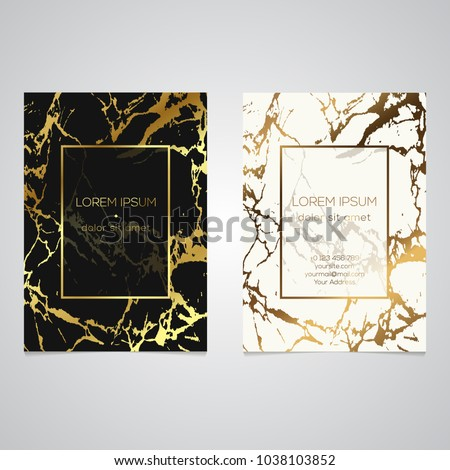 Set chic elegant business card faux stock vector 1038103852 set of chic and elegant business card with faux gold foil and marble texture modern reheart Image collections
