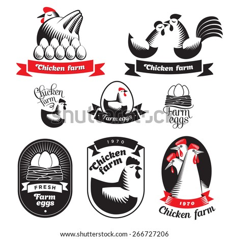Set of chicken and eggs logos on white background. Vector. - stock vector