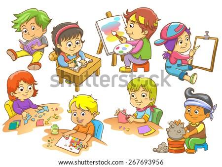set of child activities routines - stock vector
