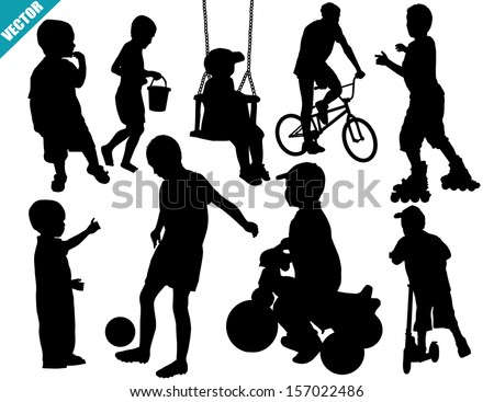 Set of child silhouettes on white background, vector illustration - stock vector
