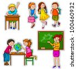 set of children and teacher at school - stock photo