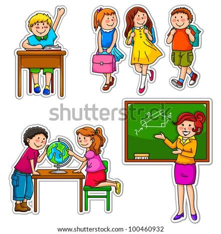 set of children and teacher at school - stock vector