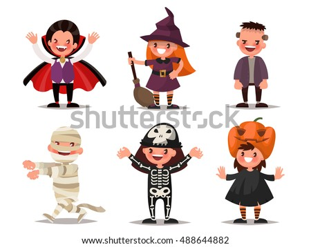 Set of children's characters for Halloween. Costumes Dracula, witches, Frankenstein's monster, mummy, skeleton, pumpkin. Vector illustration of a flat design
