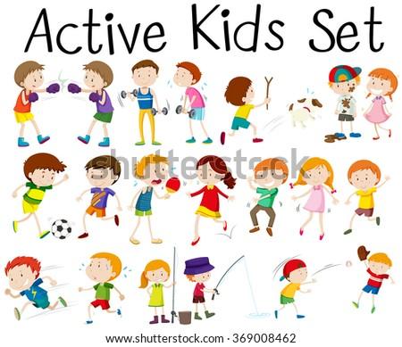 Set of children doing different activities illustration - stock vector