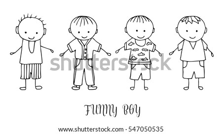 set of children drawing a boys the template for the painting hand drawn boy - Drawing Template For Kids