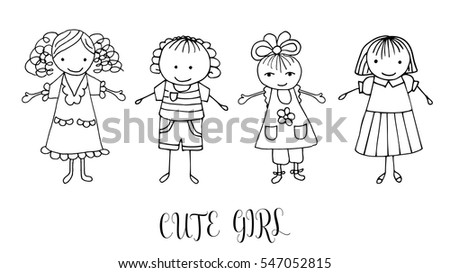 set of children drawing a girls the template for the painting hand drawn girls - Drawing Template For Kids