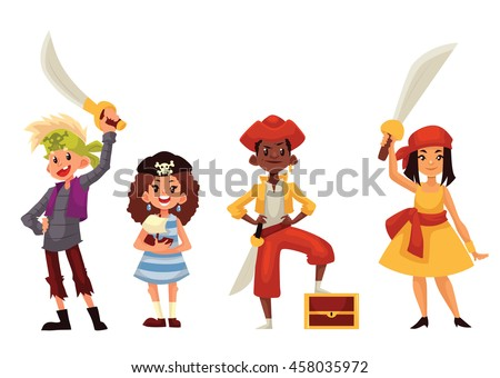 Set of children dressed as pirates, cartoon style vector illustration isolated on white background. Boys girls in pirate fancy dresses with swords and treasure chest, kids on Halloween birthday party